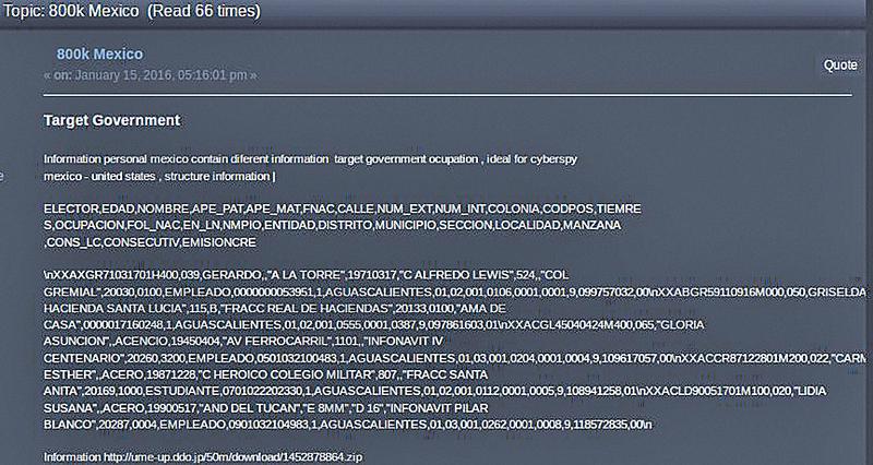 暗網上有關入侵墨西哥網絡的帖子。(網頁擷圖)
