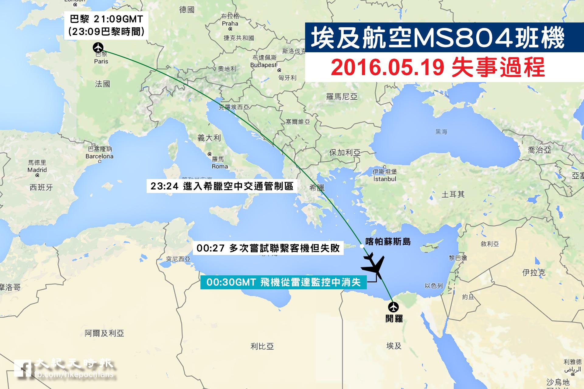 埃及航空MS804班機在今年5月19日的失事過程。(大紀元製圖)