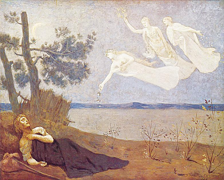 皮埃爾‧皮維‧德‧夏凡納(Pierre Puvis de Chavannes)的《夢》(The Dream,局部),1883年作,巴黎奧賽美術館藏。