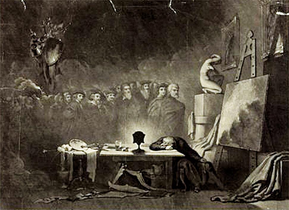 康姆基斯(George H. Comegys)1840年所作《藝術家之夢》(The Artist's Dream)。