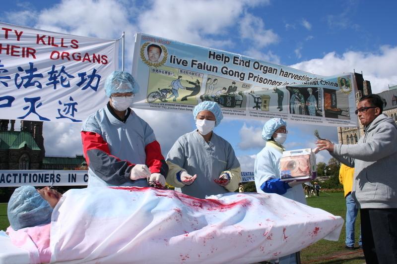 2008年加拿大渥太華的一次集會上,法輪功學員在演示中共活摘器官。(大紀元)
