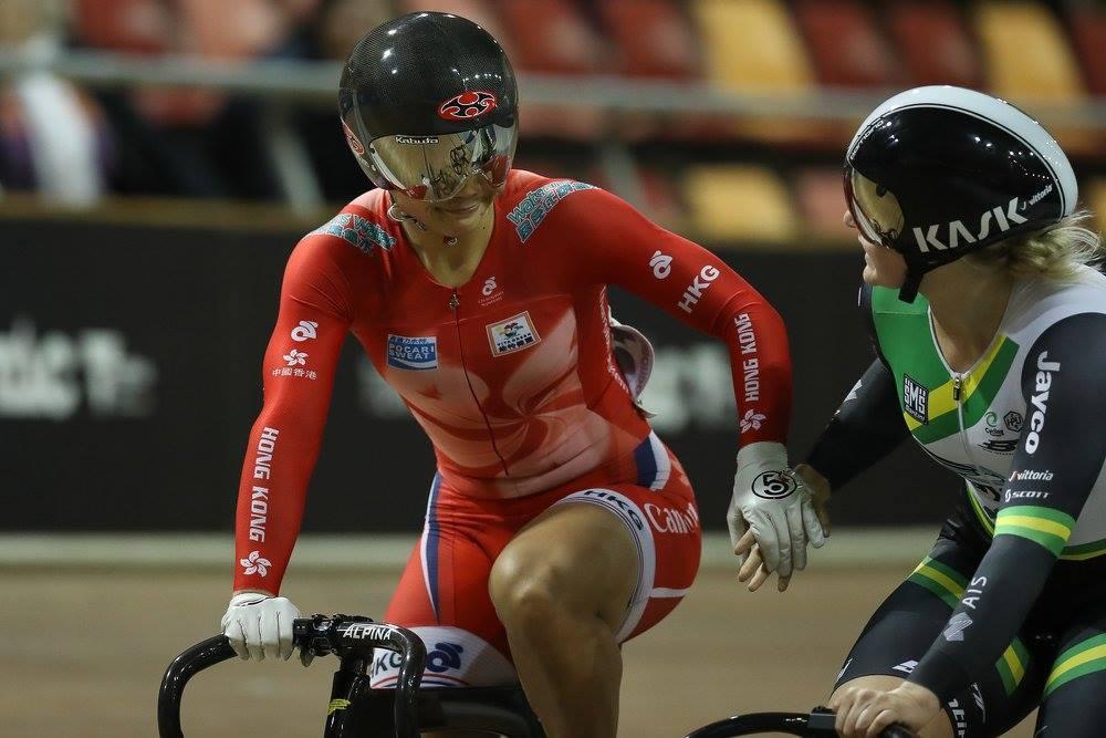 李慧詩競逐爭先賽決賽,遇上澳洲選手Stephanie Morton。(Cycling Australia facebook)