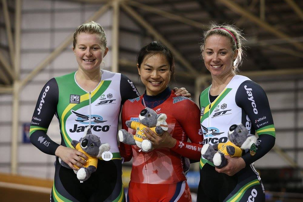 李慧詩在第二場格欄披治賽決賽期間再次對上Stephanie Morton,李慧詩今次發揮更好,直落兩勝奪得第3金。(Cycling Australia facebook)
