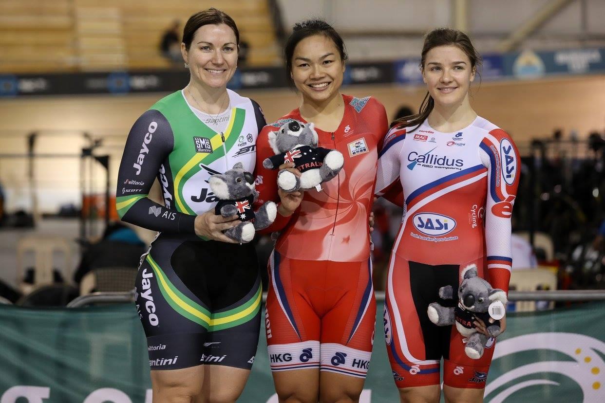 李慧詩第2日在女子凱琳賽,決賽力壓澳洲勁敵Anna Meares,贏得第二面金牌。(Cycling Australia facebook)