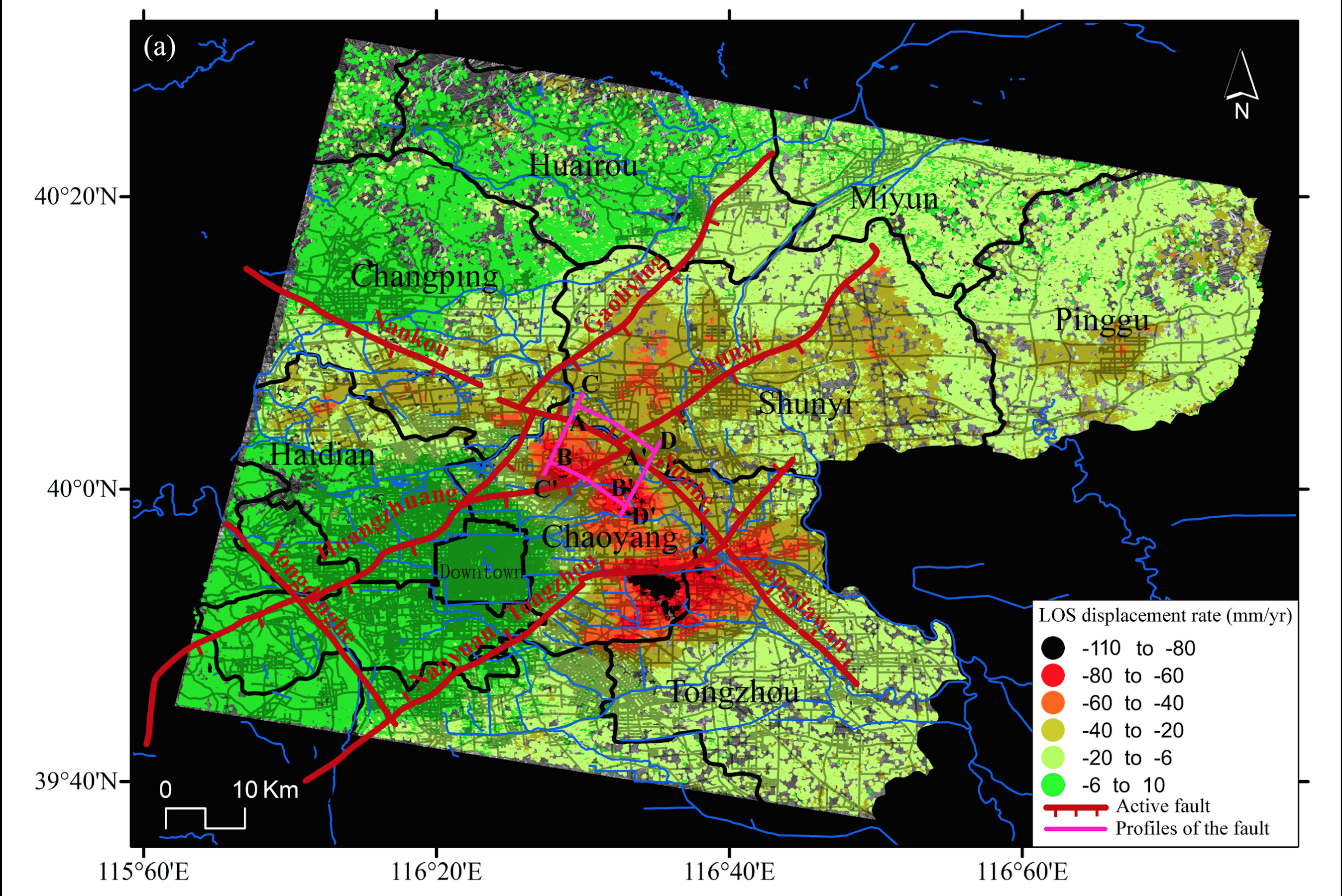 雷達圖顯示,北京土地沉降嚴重,當中以商業中心朝陽區最為突出。(《遙視》圖片)