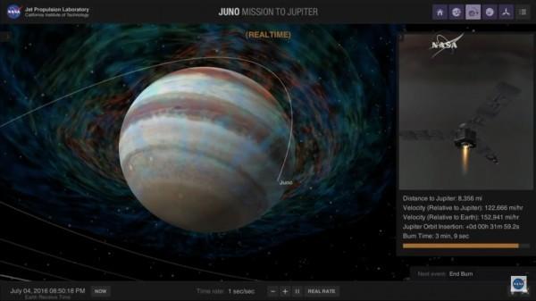 模擬圖:朱諾號探測器送入既定繞木星軌道。(NASA實況轉播截圖)