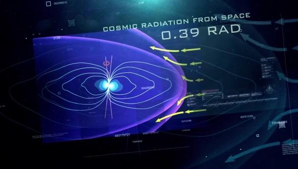 宇宙射線和木星磁場相互作用的模式圖。(NASA視頻截圖)