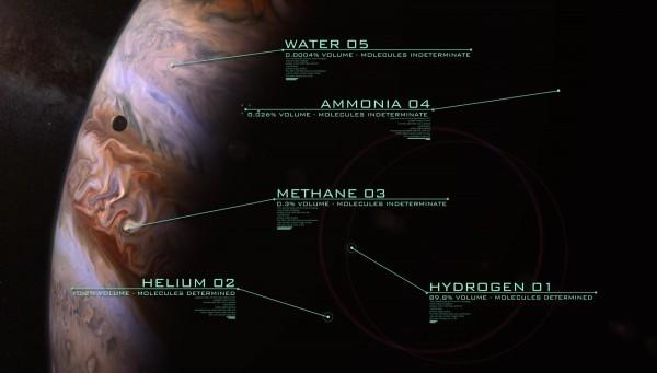 科學家目前了解到木星大氣主要含氫和氦、少量甲烷和氨及極少的水(0.0004%)。(NASA視頻截圖)