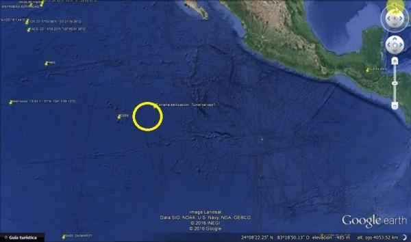 海底金字塔結構的位置距離墨西哥(圖右側大陸)不遠。(視頻截圖)