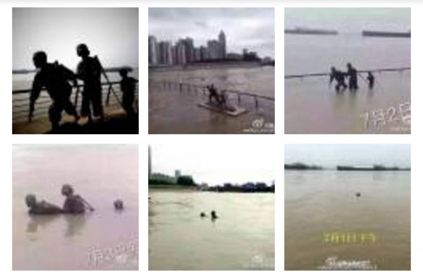 蕪湖濱江公園雕塑,因為水位不斷高漲,目前一家三口已經「被消失」。(網路截圖)