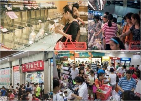 福建民眾紛紛到商店搶購食物。(互聯網圖片)