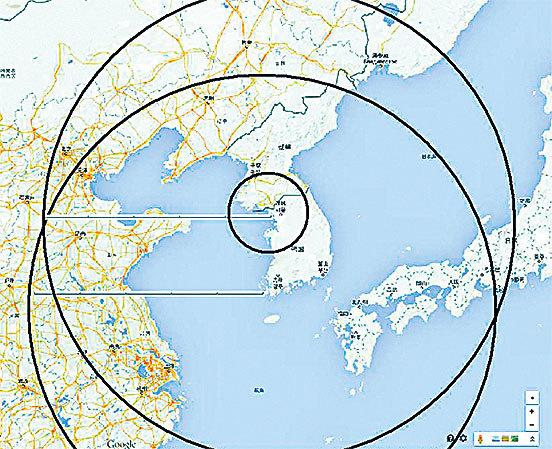 薩德部署後,雷達偵測範圍示意 圖。( 網頁截圖)