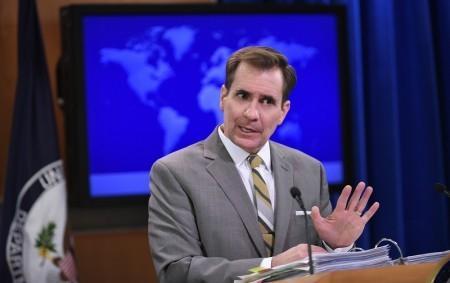 美國國務院發言人科比(John Kirby)表示,希望各方能支持與遵守裁決結果,並呼籲所有爭議方「避免挑釁性言行」。(MANDEL NGAN/AFP/Getty Images)
