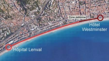 """如圖紅色線條所示,恐怖分子從Hôpital Lenval 到Hôtel Westminster全程行駛了2公里進行恐怖襲擊,深紅色線處為預留給民眾觀賞國慶煙花的步行道""""Zone Piétonne""""。(FRANCETV INFO)"""