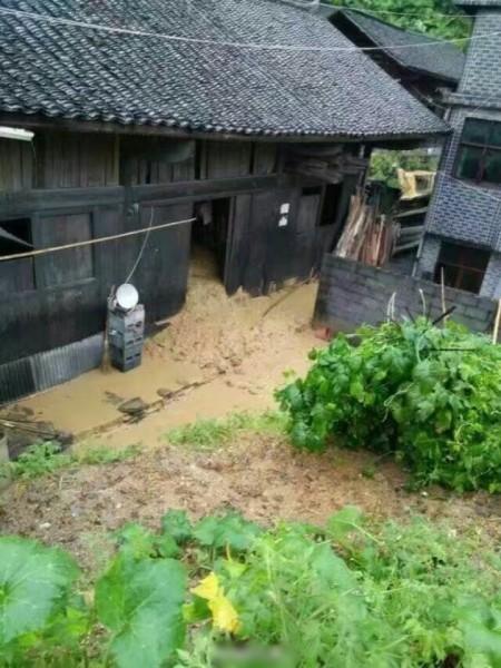 大量山泥沖入民居內。(網絡圖片)