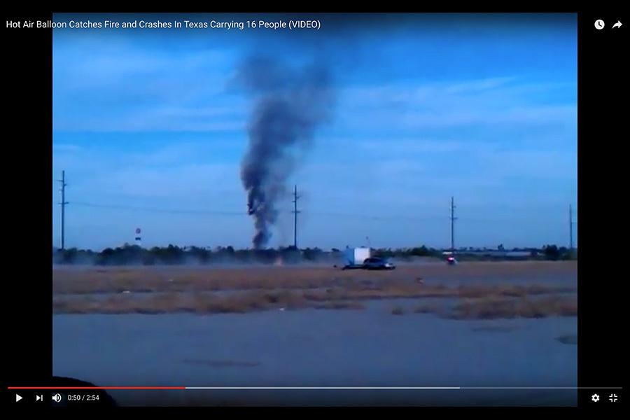 德州熱氣球着火墜毀 16人無人生還