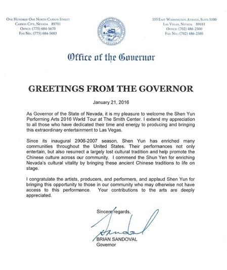 內華達州州長Brian Sandoval的賀信。(大紀元)