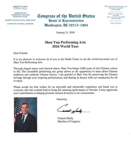 國會議員Cresent Hardy的賀信。(大紀元)