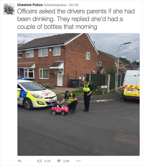 英九個月大寶寶「駕車」 被警察攔下測醉駕