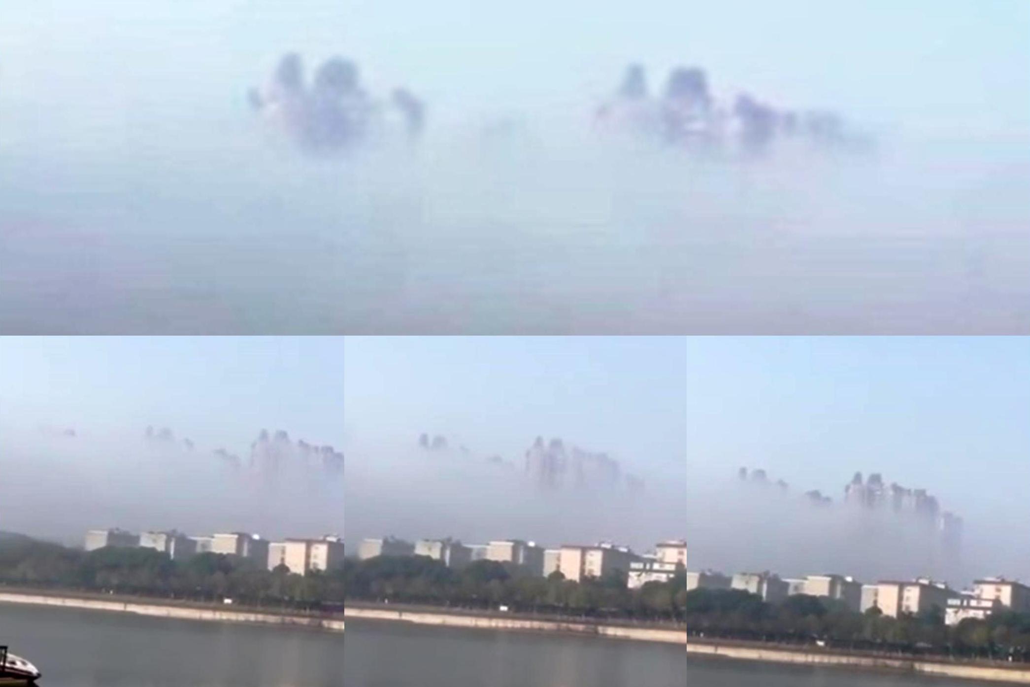 中國岳陽近日出現海市蜃樓 建築物清晰可見