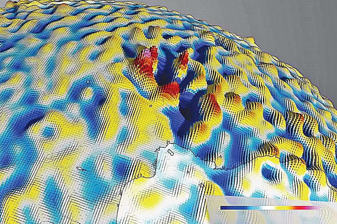 眼睛看不到的世界科學家繪製地磁分佈圖