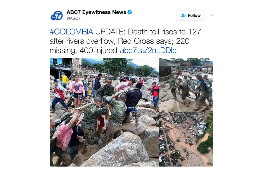 哥倫比亞山崩泥石流 至少200死220失蹤