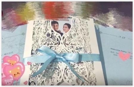 吳奇隆劉詩詩婚禮請柬。(視頻截圖)