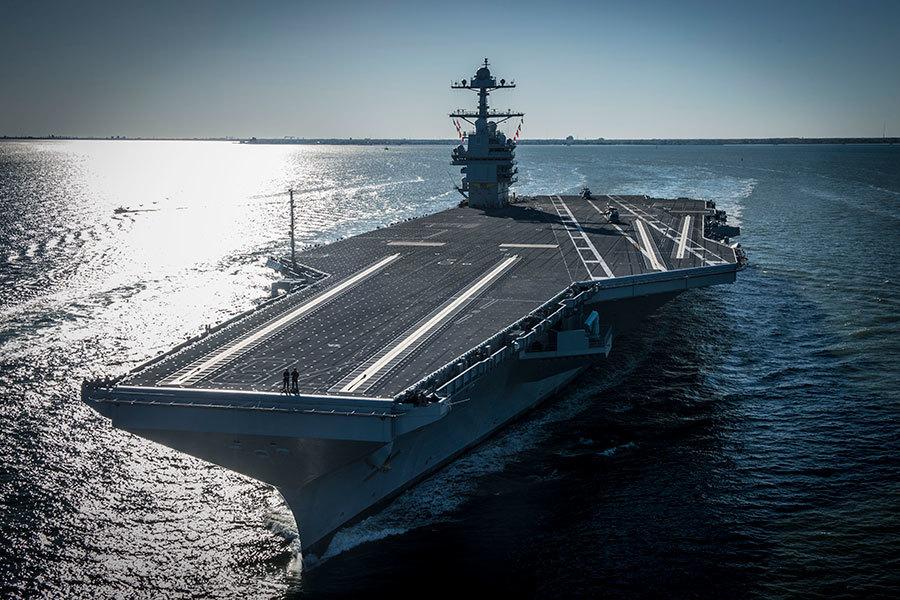 美最大最強核動力航母「福特號」下海試航