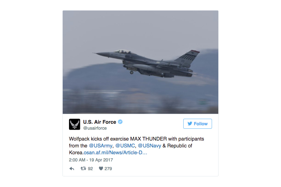 美韓「超級雷霆」聯合軍演 出動百餘架戰機