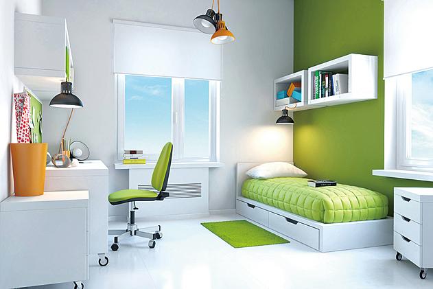 睡房使用綠色給人一種寧靜、健康的感覺。