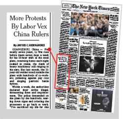 《紐約時報》15日在頭版報道中國工人罷工議題。(網絡截圖)