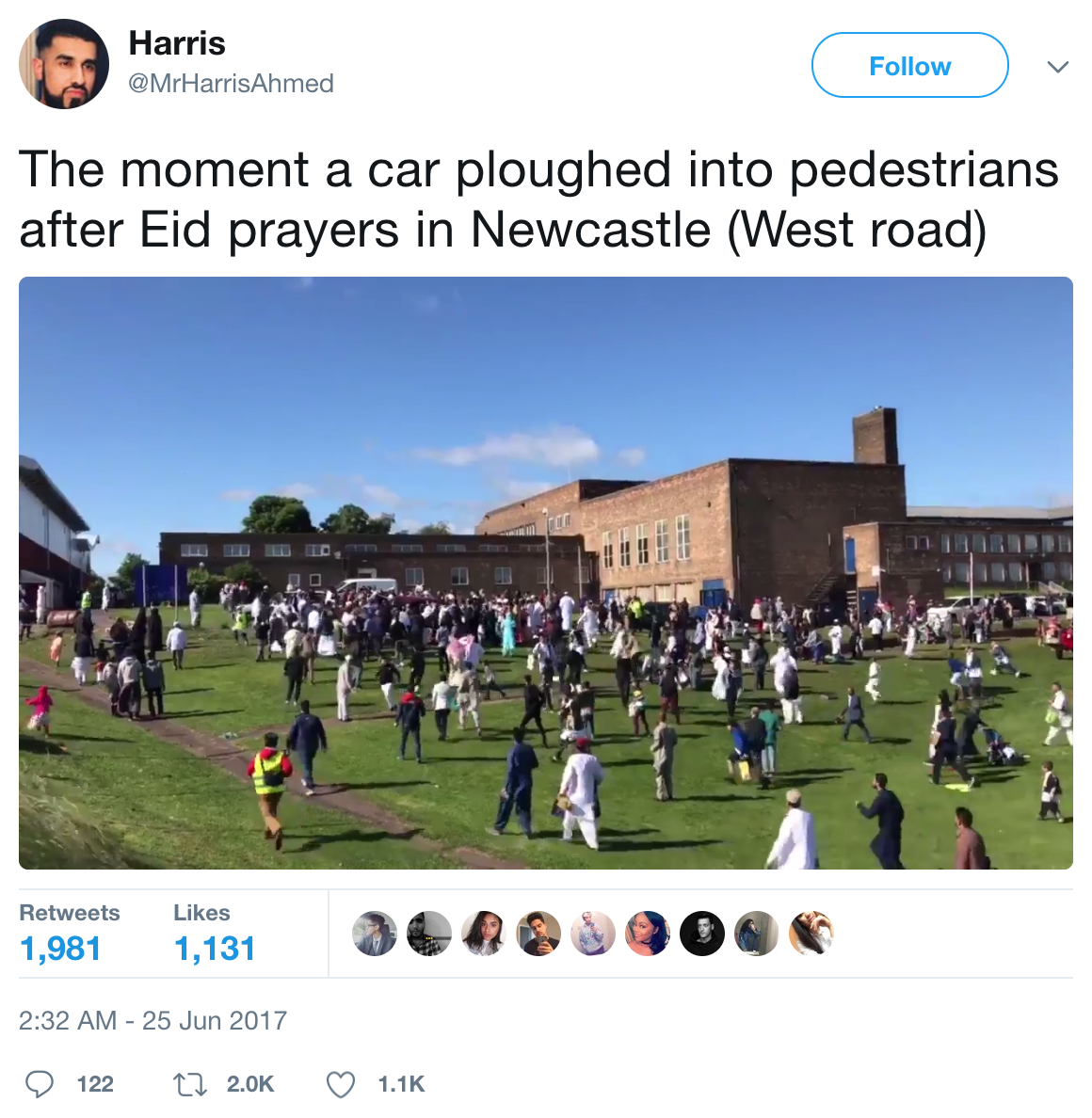英國清真寺外 一汽車衝上人行道撞傷六人
