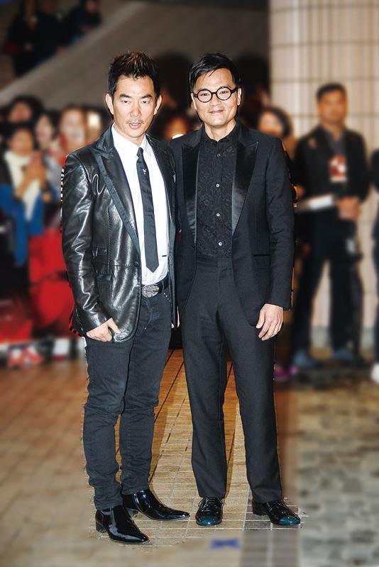 (左圖)任賢齊、林家棟雙雙出席首映禮。(宋祥龍/大紀元)