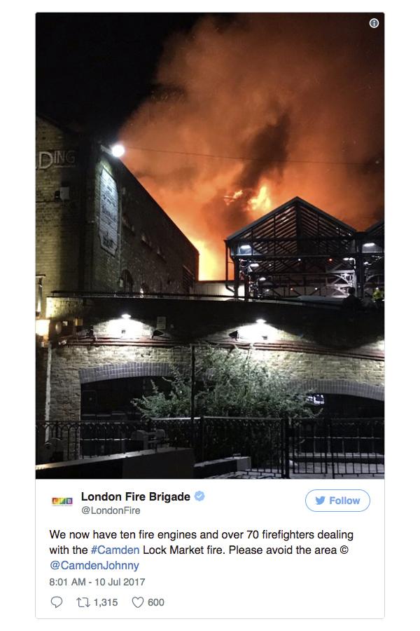 倫敦知名市集發生大火 現場火焰沖天