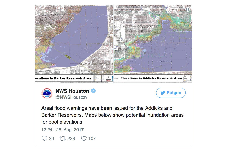 侯斯頓水庫28日將泄洪以防缺堤 洪災恐惡化