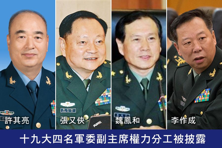 十九大四名軍委副主席權力分工被披露