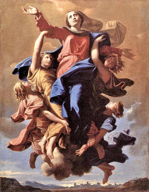 蒲珊《聖母升天》(L'assomption de la Vierge,1650年,57x40cm,羅浮宮藏)是蒲珊最有名的宗教作品之一。(ARC Museum)