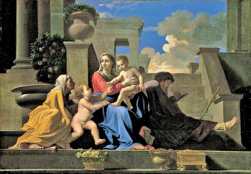 蒲珊《聖家族》(La Sainte Famille),1648年,69x98cm,華盛頓國家畫廊收藏。(wikimedia)