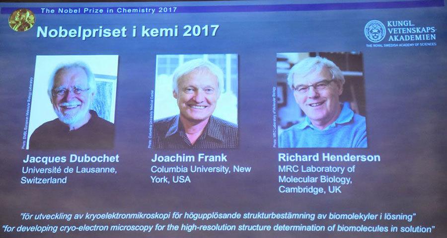 開發冷凍電鏡技術 三人獲諾貝爾化學獎