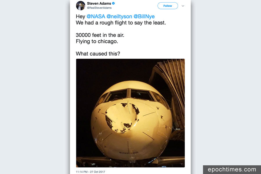 NBA球隊空中驚魂 飛機鼻子被撞出大坑
