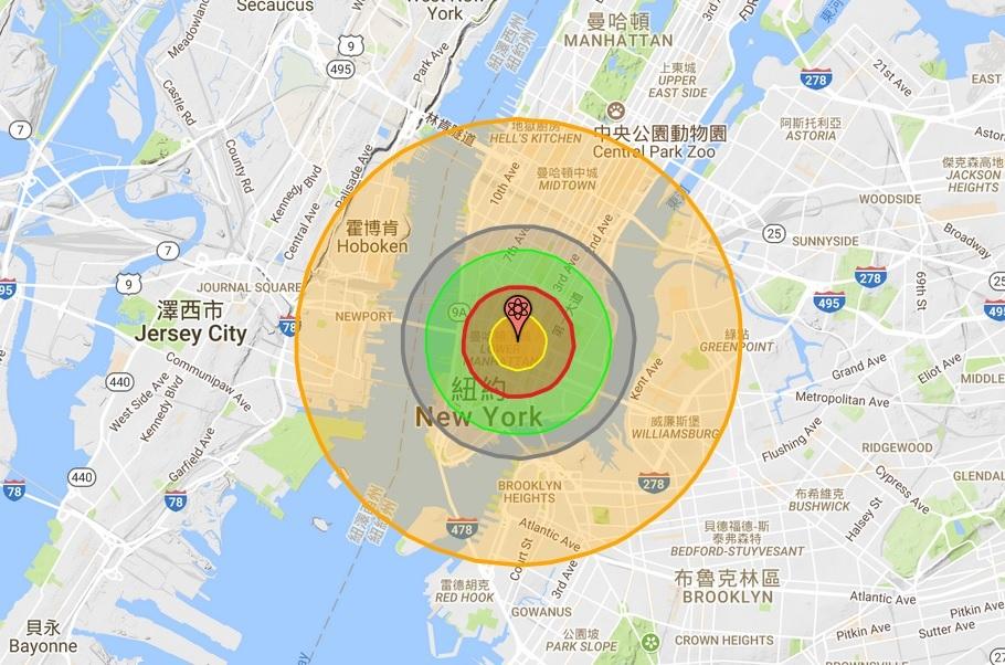 北韓若核攻擊死傷會有多少? 請看這張地圖