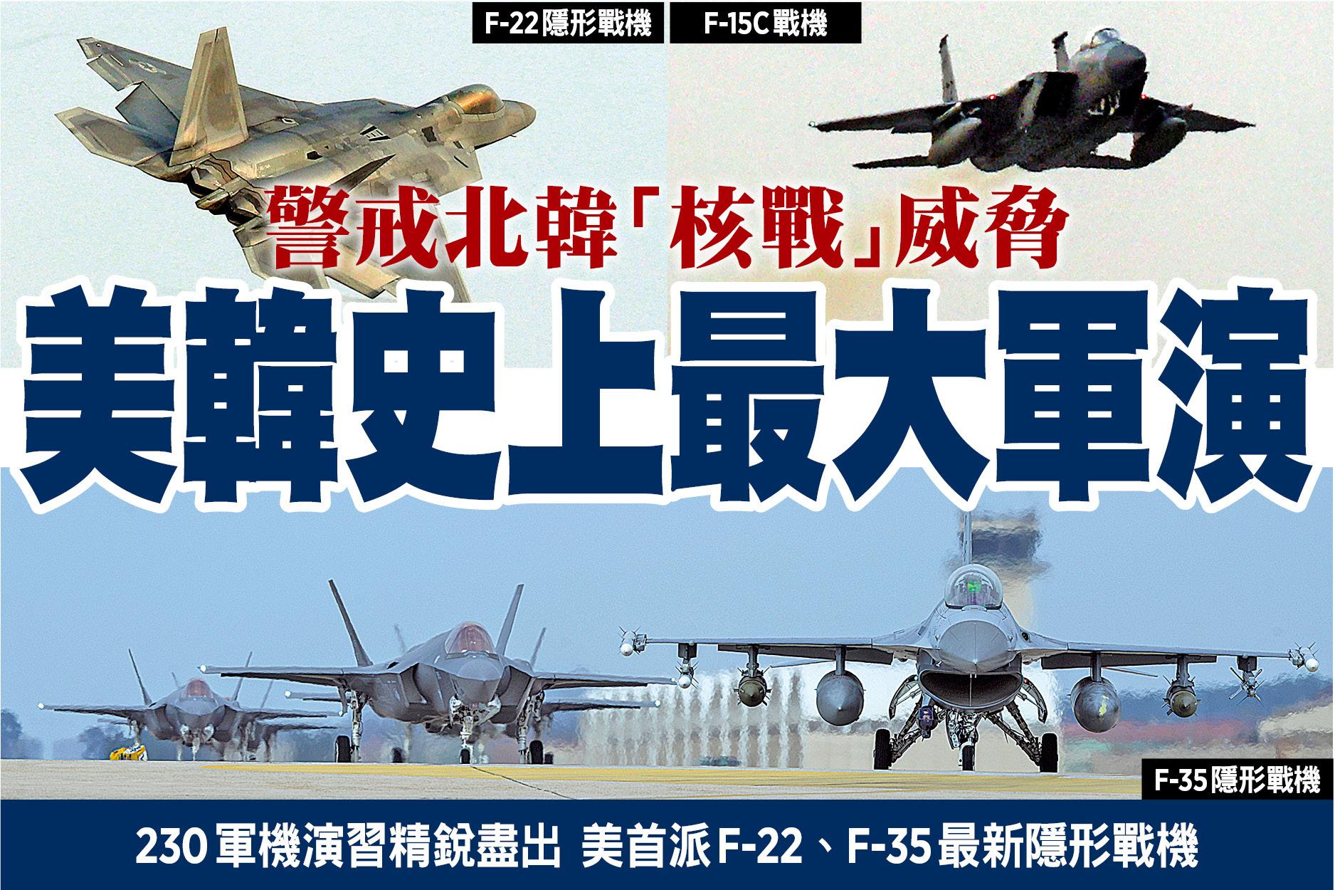 警戒北韓「核戰」威脅 美韓史上最大軍演
