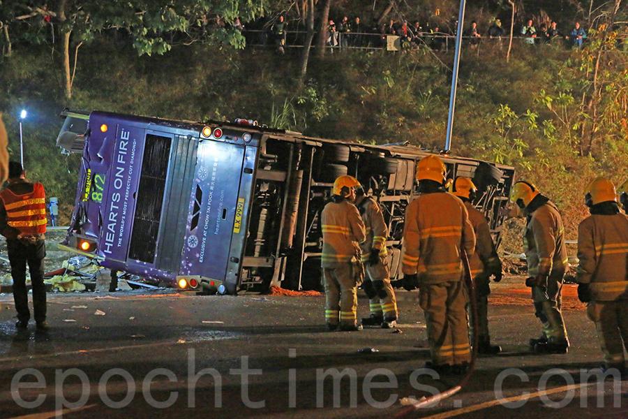 大埔公路雙層巴士翻側19死 逾60傷