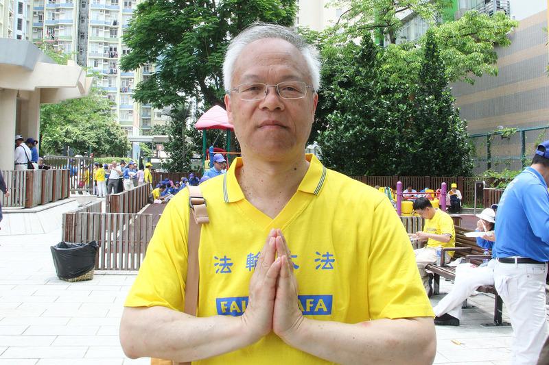 香港著名作家古先生學煉法輪功,身心獲得健康。(蔡雯文/大紀元)