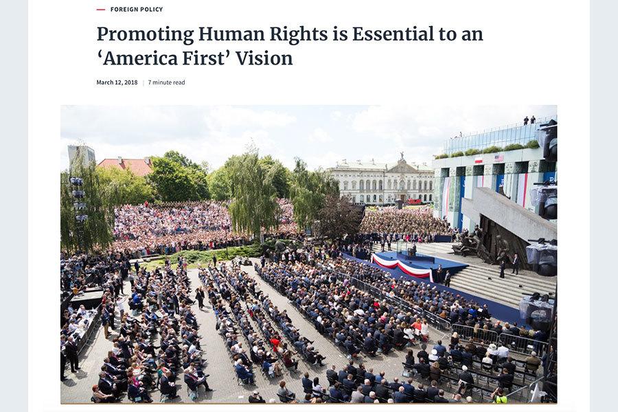 白宮聲明:推動人權對「美國優先」必不可少