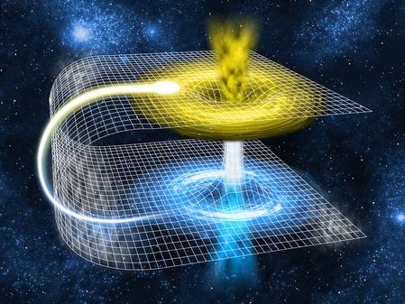 理論物理學家推測,銀河系存在足夠大的時空通道「蟲洞」,可以讓飛船通過。(Fotolia)