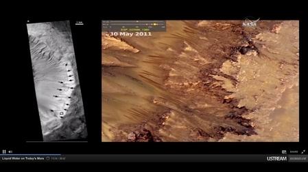 季節性斜坡紋線(圖中的暗色條紋)是隨著火星季節變化的地質特徵,NASA證實它是由液態鹽水造成的。(NASA視頻擷圖)