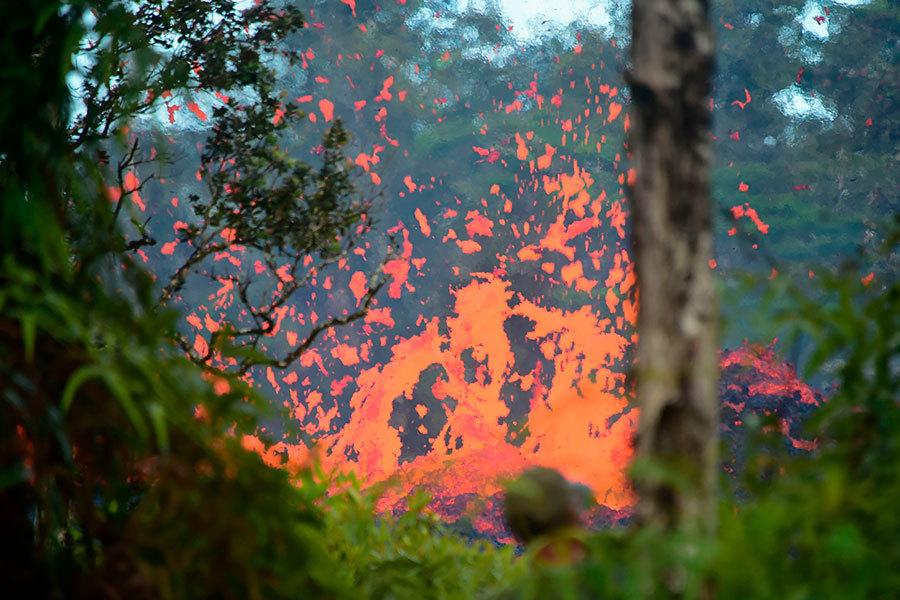 夏威夏威夷火山6.9級地震 熔岩燒毀民宅