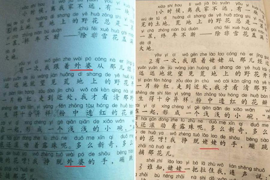 上海小學教材「外婆」變「姥姥」 原作者不知情