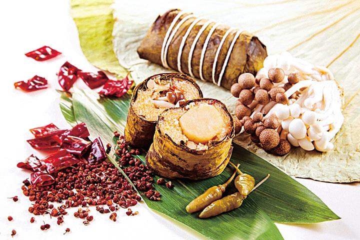 香格里拉台南遠東國際大飯店麻香辣剁椒帶子海鮮粽,是台灣麻辣口感的新風味。